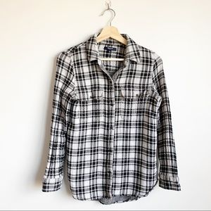 Madewell Plaid Flannel Button Up Blouse Small S